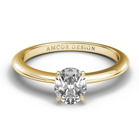 14KT Gold 1/2 Carat Diamond Engagement Ring Oval Cut Prong Solitaire