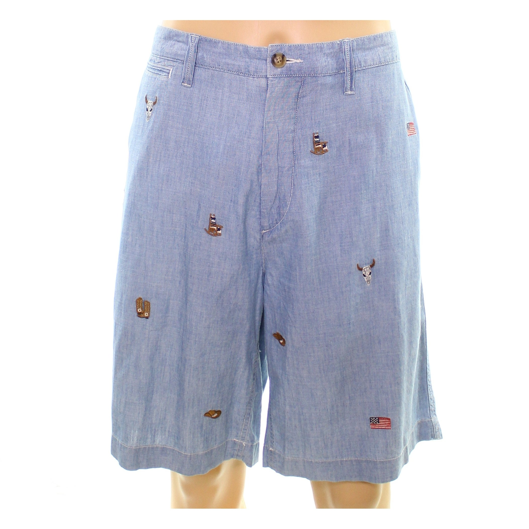 Mens Embroidered Polo Blue Size 42 Ralph Shorts Lauren Chambray hrsQCxtd