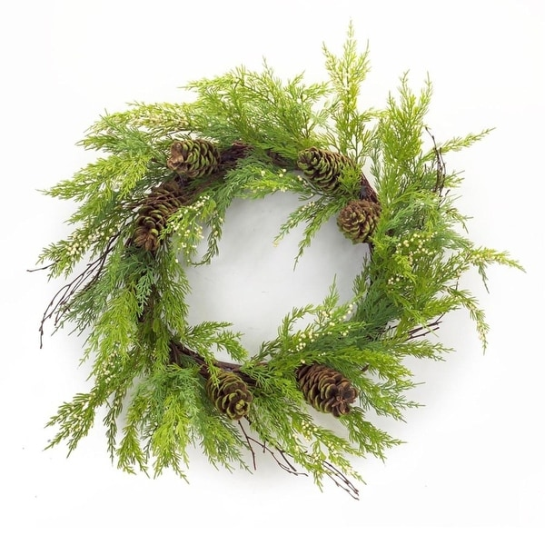 """Pack of 2 Artificial and Ornamental Cypress Wreath with Pine Cone 32"""" - Unlit - brown"""