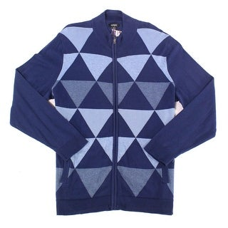 Alfani Ink Blue Mens Size XL Triangle Knit Full Zip Sweater