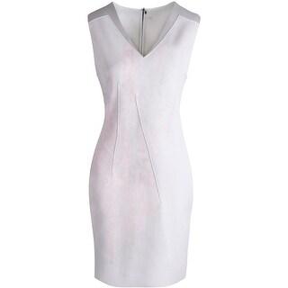 Elie Tahari Womens Adrienne Matte Jersey Leather Trim Cocktail Dress