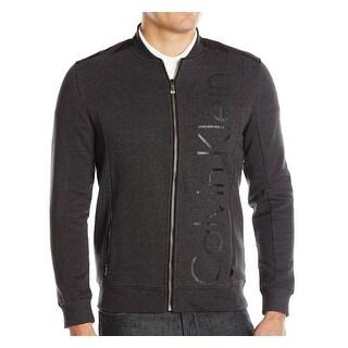 Calvin Klein NEW Gray Mens Size 2XL Heather Full-Zip Logo-Print Jacket