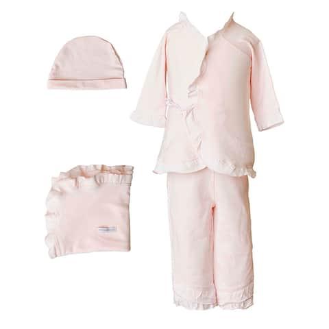 Baby Girls Pink Bamboo 4pc Hat Top Pants Blanket Layette Set