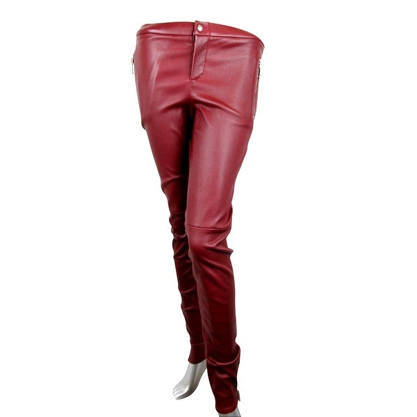62bb6dbc4 Gucci Women  x27 s Leggings Stretch Burgundy Lamb Leather Pant 356036 6218  (38