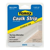 "Homax 34030 Tub and Floor Caulk Strip, 1-1/4"" X 5', White"