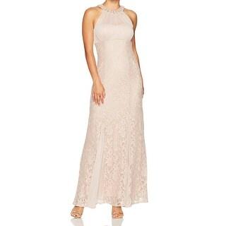 Nightway Beige Womens Size 8P Petite Lace Illusion-Yoke Gown Dress