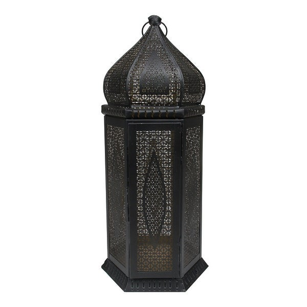 "21.25"" Black and Gold Middle Eastern Style Cut-Out Pillar Candle Lantern"
