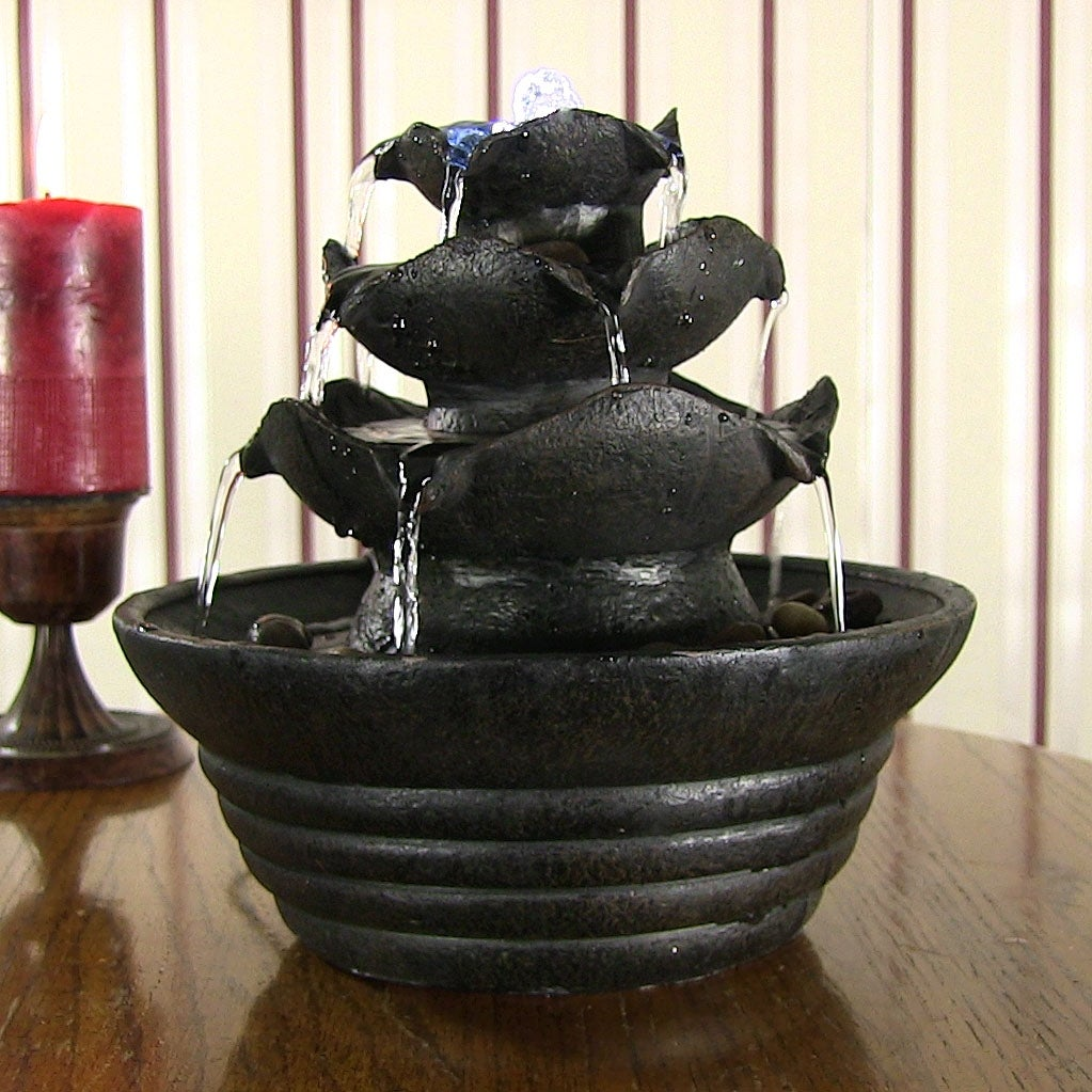 Sunnydaze Three Tier Cascading Tabletop Fountain w/ LED Lights - Options Available - Thumbnail 0