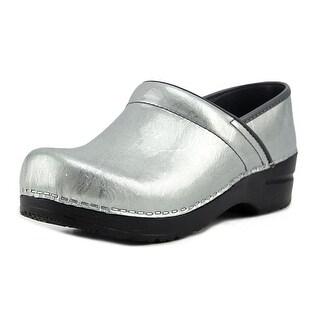 Sanita Signature Pearl Metallic Women  Round Toe Patent Leather Gray Clogs