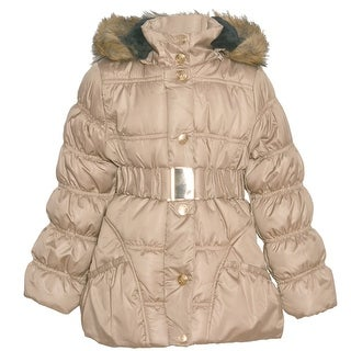 Urban Republic Girls Champagne Belted Fur Trim Hooded Puffer Coat (Option: 14)
