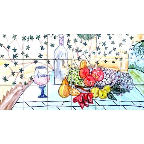 36in x 18in Kitchen Backsplash 18pc Mosaic Tile Ceramic Wall Mural
