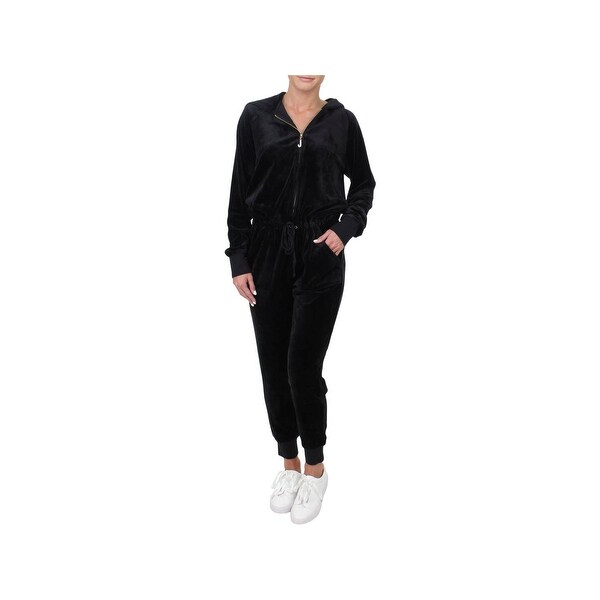 0bf7ee7460c Shop Juicy Couture Black Label Womens Jumpsuit Velour Hooded - Free ...