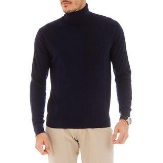 Cashmere Company DOLCE VITA BLU Navy Blue Roll Neck Cashmere Blend Mens Sweater - eu=52/l