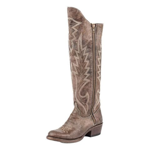 Stetson Western Boots Womens Zip Flam Embroidery