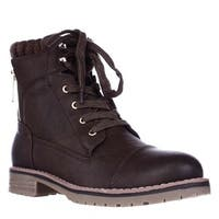 Tommy Hilfiger Omar2 Knit Top Combat Boots, Medium Brown