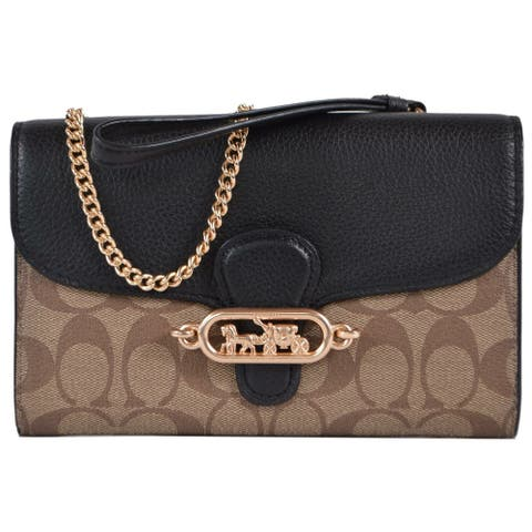 Coach 88101 JADE Signature Canvas Chain on Wallet Crossbody Purse Bag Clutch