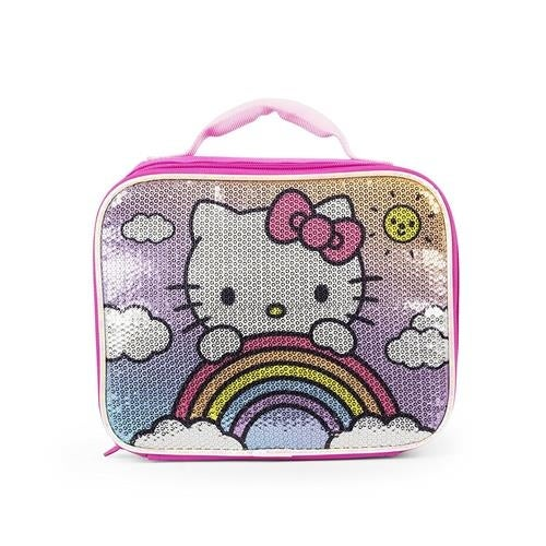 f2e074c58 Shop Hello Kitty Girls Rainbow Clouds Sequin Soft Lunch Box - Free Shipping  On Orders Over $45 - Overstock - 18616461