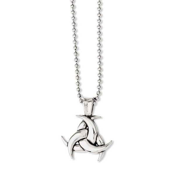 Chisel Stainless Steel Polished & Antiqued Celtic Knot 22in Necklace (2 mm) - 22 in