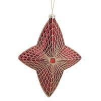 Pack of 6 Decorative Glass Red and Gold Star Ornament