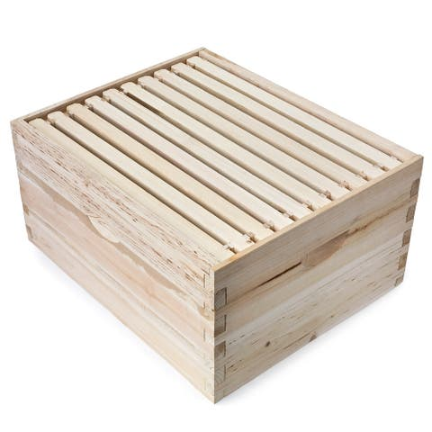 "10 Frame Super Box with Frames for Langstroth Beekeeping- Honey Keeper - Fir Wood - 16-1/4"" Long by 20"" Wide by 9-3/4"" High"