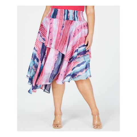 INC Womens Pink Printed Midi A-Line Skirt Size 1X