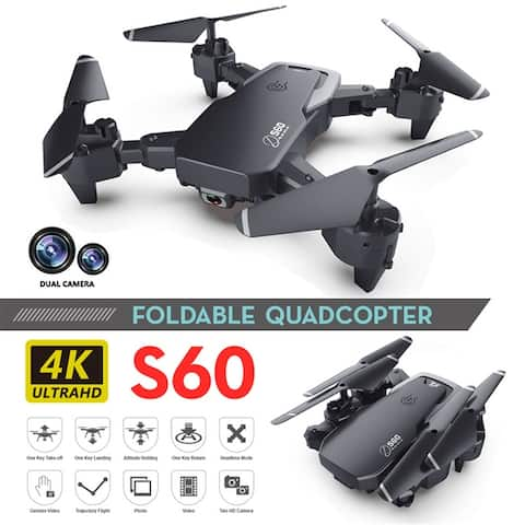 1080P S60 Foldable Drone with 4K HD Camera FPV WiFi RC Quadcopter w/Gesture Control, Trajectory Flight, Circle Fly - 4k-S60