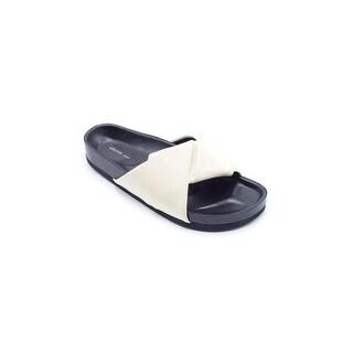 Celine Women's Light Yellow Leather Twist Slide Sandal