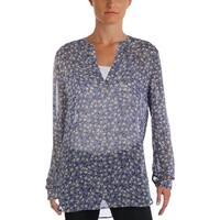Anne Klein Womens Blouse Sheer Long Sleeves