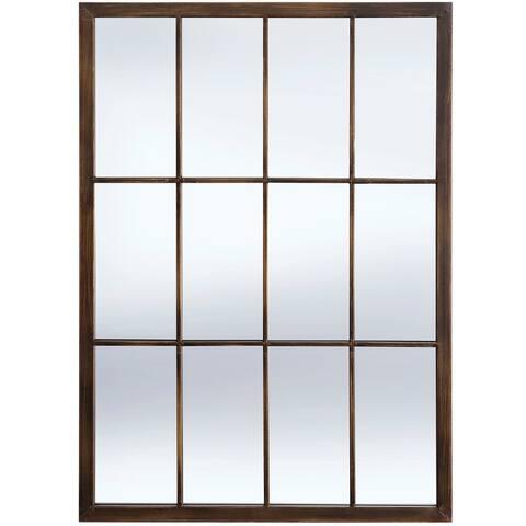 StyleCraft Bradley Bronze Metal Window Pane Wall Mirror
