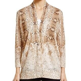 Magaschoni NEW Brown Women's Large L Burnout Cardigan Silk Sweater