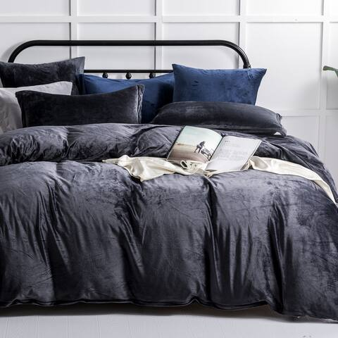 NTBAY Super Soft Luxury Solid Color Velvet Twin & Queen & King Size 3 Piece Duvet Cover Set with Hidden Zipper Closure