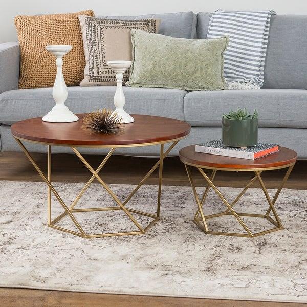 Delacora WE-BDF28CLRG Two Piece Wood Top Metal Accent Table
