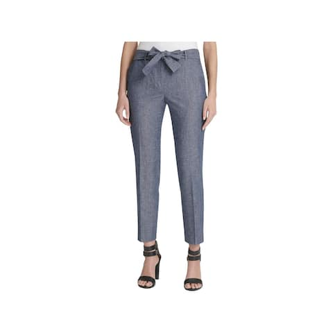 DKNY Womens Petites Ankle Pants Linen Blend High Rise - Chambray Blue - 12P