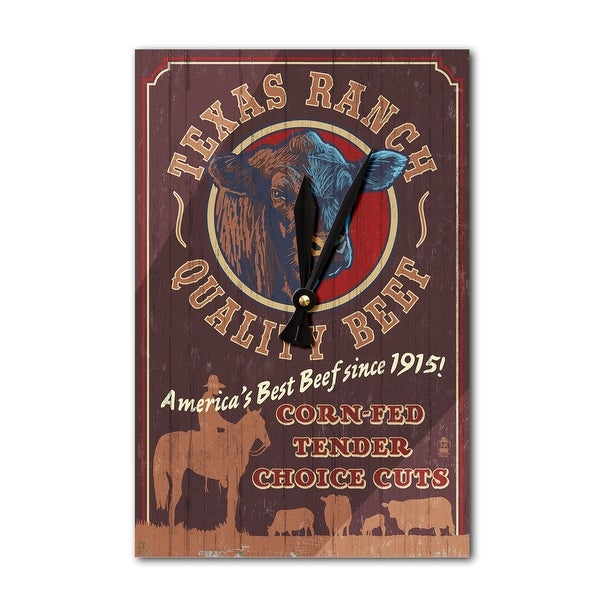 TX - Cattle Ranch Vintage Sign - LP Artwork (Acrylic Wall Clock) - acrylic wall clock