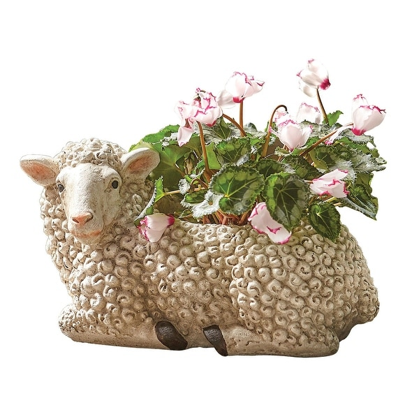 Art & Artifact Woolly Sheep Planter Pot - Indoor/Outdoor Flower Container - 15 in. x 8 in. x 7 in.