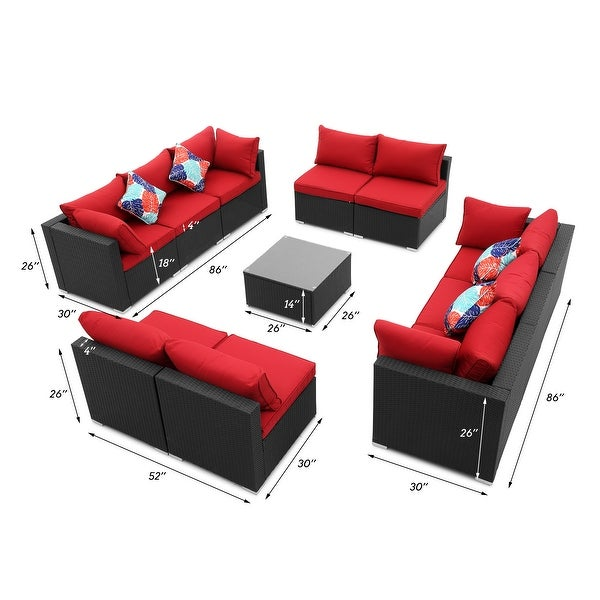 Ainfox 9-/11-pc. Rattan Sofa Sectional Set