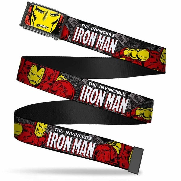 Marvel Comics Iron Man Face Fcg Red Yellow Chrome The Invincible Iron Web Belt