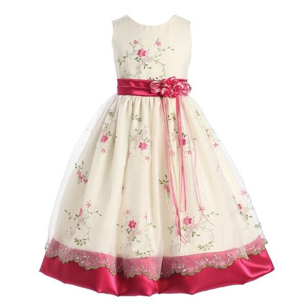 Shop Little Girls Fuchsia Ivory Print Sash Roses Sleeveless Flower Girl  Dress 6 - Free Shipping Today - Overstock - 19773070 7ba115c19a81