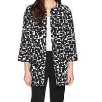 Kasper Black Women's Size 8 Abstract Print Open Front Jacket
