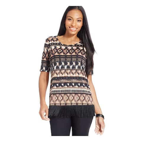 NY COLLECTION Brown Short Sleeve Top L