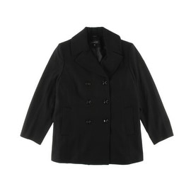 Jones New York Womens Plus Wool Double-Breasted Pea Coat