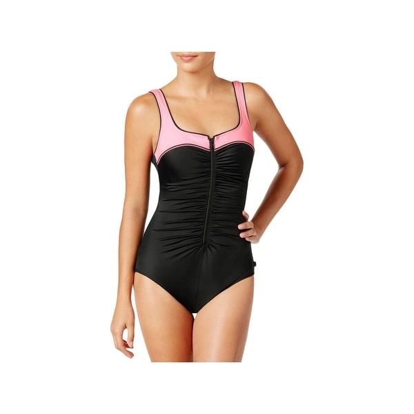 47a1e1efb66 Reebok Womens Swim Zipper Front Tummy Control One-Piece Swimsuit - 18