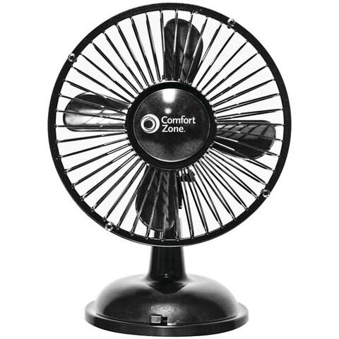 Comfort Zone CZ5USBBK Battery & USB Oscillating Desk Fan, Black