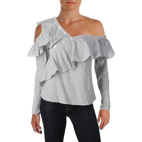 Aqua Womens Anabela Pullover Top Asymmetric Ruffled
