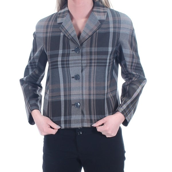 f5318c02 Shop TOMMY HILFIGER $139 Womens New 1101 Gray Plaid Blazer Wear To Work Jacket  2 B+B - Free Shipping On Orders Over $45 - Overstock - 21307558