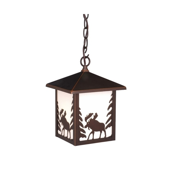 Vaxcel Lighting OD36986 Yellowstone 1-Light Square Moose Outdoor Pendant - Burnished Bronze - N/A