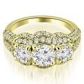 2.25 cttw. 14K Yellow Gold Milgrain 3-Stone Round Cut Diamond Engagement Ring - Thumbnail 0
