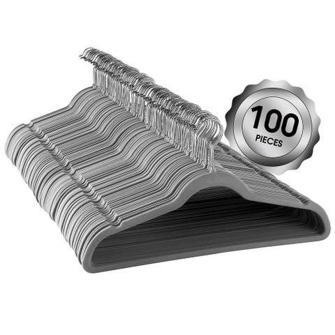Elama Home 100Pc Velvet Slim Clothes Hangers w/ SS Swivel Hooks Gray