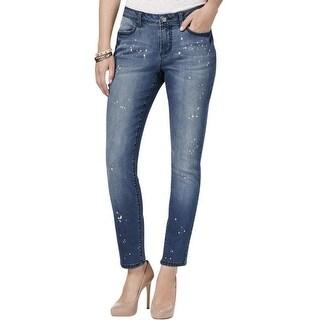 Earl Jeans NEW Blue Womens Size 2 Slim Skinny Bleach Splatter Jeans