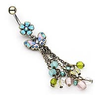 "Vintage Enamel Flower Navel Belly Button Ring with Butterfly & Beads Dangle - 14GA 3/8"" Long"